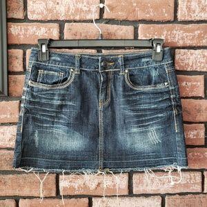 Denim frayed hem mini skirt 7